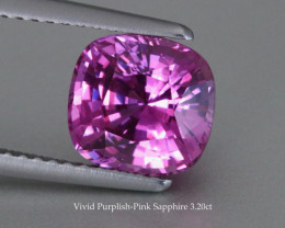 Unheated - Loupe Clean - Vivid Purple -Pink Sapphire - 3.20ct - Cushion - S