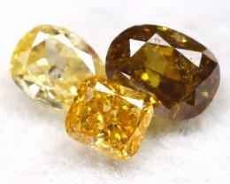 Fancy Diamond 0.28Ct 3Pcs Natural Unheated Fancy Diamond Lot B2112