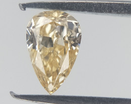 0.10 cts , Pear Diamond , Natural Light Yellow