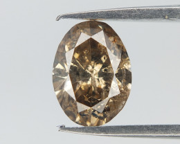 0.55 cts , Oval Brilliant Cut , Deep Brown Damond