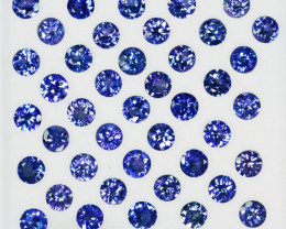 20.78 Cts Natural Purple Blue Tanzanite 5mm Round Calibrated 42Pcs