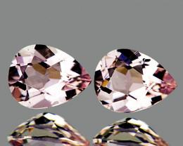 7x5 mm Pear 2 pcs 1.20cts Peach Pink Morganite [VVS}