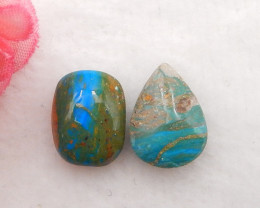 9.5cts Natural Blue Opal Cabochons, October Birthstone, Blue Opal H210