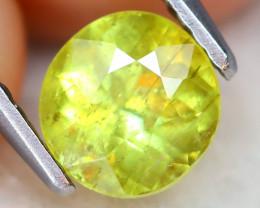 Sphene 1.19Ct VS2 Round Cut Natural Rainbow Flash Green Sphene A2312
