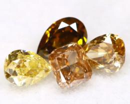Fancy Diamond 0.30Ct 4Pcs Natural Unheated Fancy Diamond Lot A2409