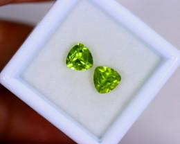 1.74cts Natural Apple Green Color Peridot Pairs/MA652