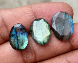 3 Pcs Labradorite Natural Gemstone Rose Cut Fancy VA3179