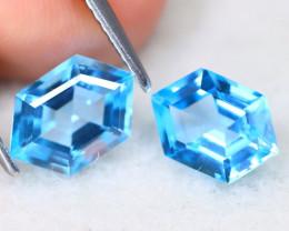 Swiss Topaz 3.08Ct VVS Hexagon Cut Natural Swiss Blue Topaz A2502