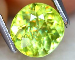 Sphene 1.41Ct Round Cut Natural Rainbow Flash Green Sphene A2516
