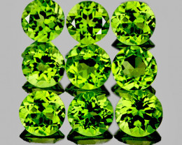 5.00 mm Round 9 pcs 4.71cts Green Peridot [VVS}