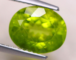 3.68ct Natural Green Peridot Oval Cut Lot V7690