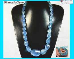 22 inch line Aquamarine Beads 43 to 14mm 1090ct from Brazil untreated strun