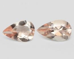 2.61 Cts 2 Pcs Amazing Rare Natural Pink Color Morganite Gemstones