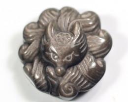 Silver Sheen Obsidian Fox Gumiho Carving Pendant