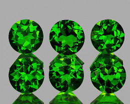 3.50 mm Round 6 pcs 1.20cts Chrome Green Diopside [VVS]