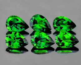 5x3 mm Pear 6 pcs 1.42cts Chrome Green Diopside [VVS]