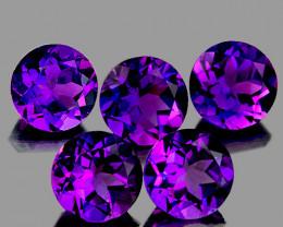 7.00 mm Round 5 pcs 6.25cts Intense Purple Amethyst [VVS}