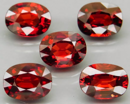7.98 ct. Natural Earth Mined Red Rhodolite Garnet Africa - 5 Pcs