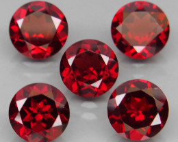 7.70 ct. Natural Earth Mined Red Rhodolite Garnet Africa - 5 Pcs