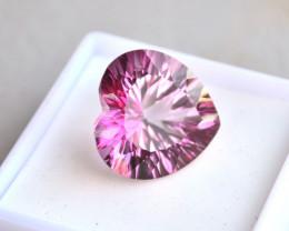 16.32 Carat Fantastic Heart Millennium Cut Mystic Pink Topaz