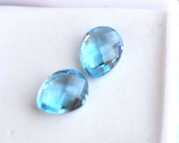 4.10 Carat Matched Pair of Pear Checkerboard Cut Sky Blue Topaz