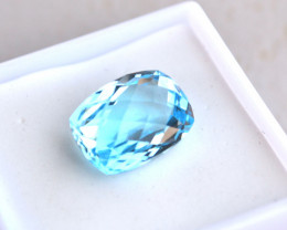 8.85 Carat Cushion Checkerboard Cut Sky Blue Topaz