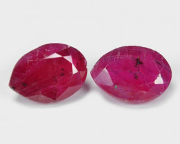1.84 Cts 2pcs Pair Oval Shape Pinkish Red Natural Ruby BURMA  Loose Gemston