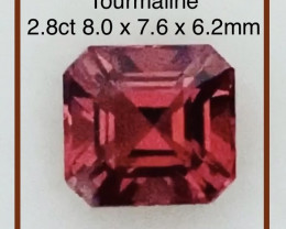 Pretty Asscher Cut Red Tourmaline
