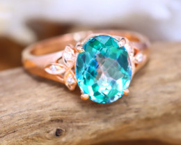 14K Rose Gold Authentic Green Topaz Diamond Engagement Ring AT0004