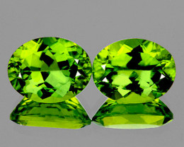10x8 mm Oval 2pcs 4.25cts Green Peridot [VS]