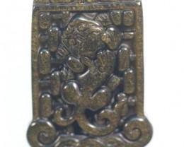 Natural Golden  Obsidian Brave Troops Carving Pendant