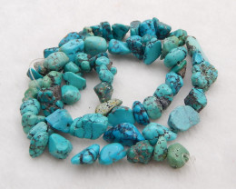 114cts Turquoise Necklace ,Nugget Turquoise Necklace ,Turquoise Beads ,Luck