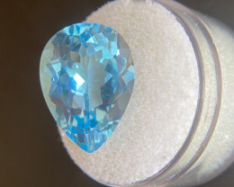 Blue Topaz 14.67 Carat Pear Teardrop Cut Swiss Blue 18.2x13.2mm Loose Gemst