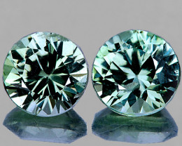 3.80 mm Round 2 pcs 0.46ct Blue Green Sapphire [VVS