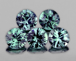 3.80 mm Round 5 pieces 1.26cts Blue Green Sapphire [VVS]