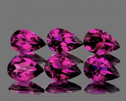 6x4 mm Pear 6 pcs 3.00cts Pinkish Purple Rhodolite Garnet [VVS}