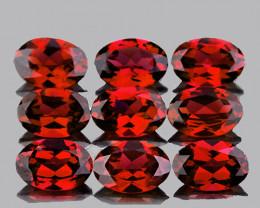 6x4 mm Oval 9 pcs 4.95cts Orange Red Garnet [VVS}