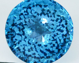 ~CUSTOM CUT~ 7.75 Cts Natural Swiss Blue Topaz Round Cut Brazil