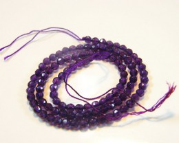 4 MM  QUALITY AMETHYST FACETED BEADS STRAND 44   CTS ST 346