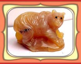 CARVING - 285.5ct  Tanzanian Honey Opal Carved Bear