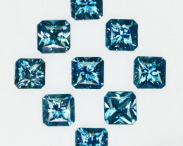 13.65Cts Natural Sparkling Blue Zircon Square Radiant Cut 6.00mm Cambodia