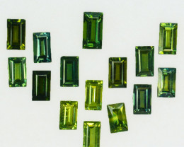 5.46 Ct Natural Australian Green Sapphire Baguette  6 X 3mm Parcel