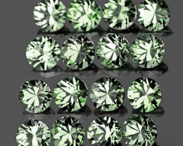 1.60 mm Round Machine Cut 40 pcs Green Sapphire [VVS]