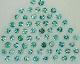 5.78Ct Natural Blue Green Grandidierite round 3mm calibrated parcel