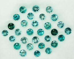 4.59Ct Natural Blue Green Grandidierite round 3.50mm calibrated parcel