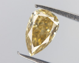 Yellow overtone colour Diamond , Pear Brilliant Cut , 0.27 cts