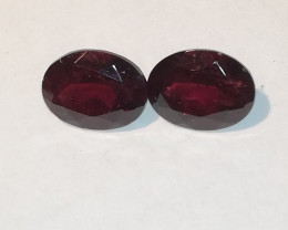 Rhodolite pair, 5.00ct, oval shape best quality!