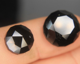 Natural Black Tourmaline Schorl Rose Cut 2 PiecesFor Ring Or Pendant