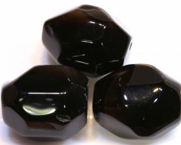 99 CTS BLACK ONYX FACETED BEAD 3 PCS   NP-721