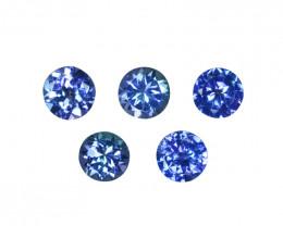 2.94 Cts Natural Purple Blue Tanzanite 5mm Round 5Pcs Tanzania